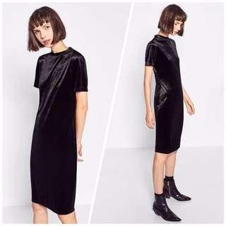 OshareGirl 09 歐美金屬光澤絲絨復古旗袍式連身裙短袖上衣裙