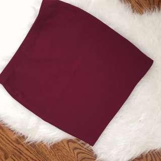 F21 Burgundy Ribbed Skirt