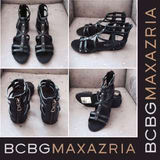 BCBG Max Azria Black Leather Sandals