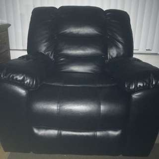 Reclining leather couch