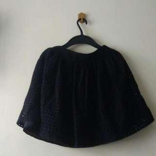 Eyelet Black Skirt