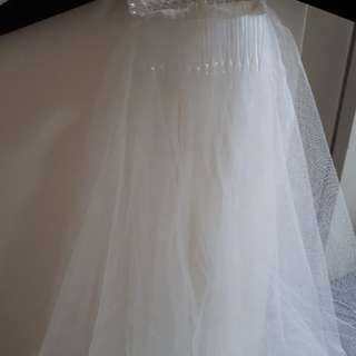 Cream Short 2 Layer Veil With Comb