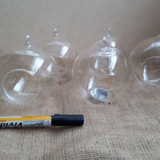 12 Hanging Or Sitting Glass Bowls Hole In Side