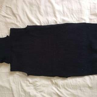 Black turtle neck sweater vest