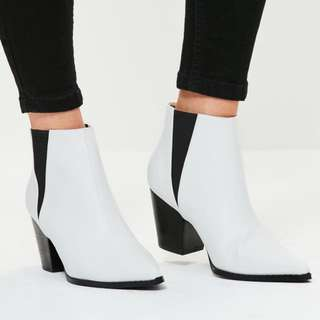 White Pointed Ankle Boots Size 6