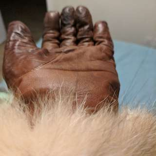 Leather Gloves With Fox Fur Cuffs
