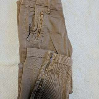 Jeans With Brass Zippers On Legs And Pockets