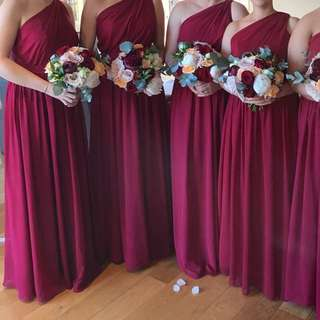 Burgundy Chiffon Full Length Dress