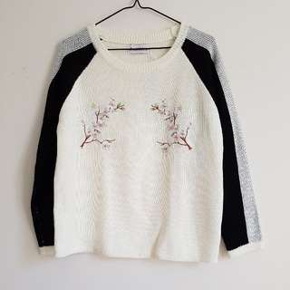 flower embroidered knit