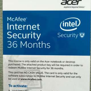 McAfee Internet Security - 36 Mths