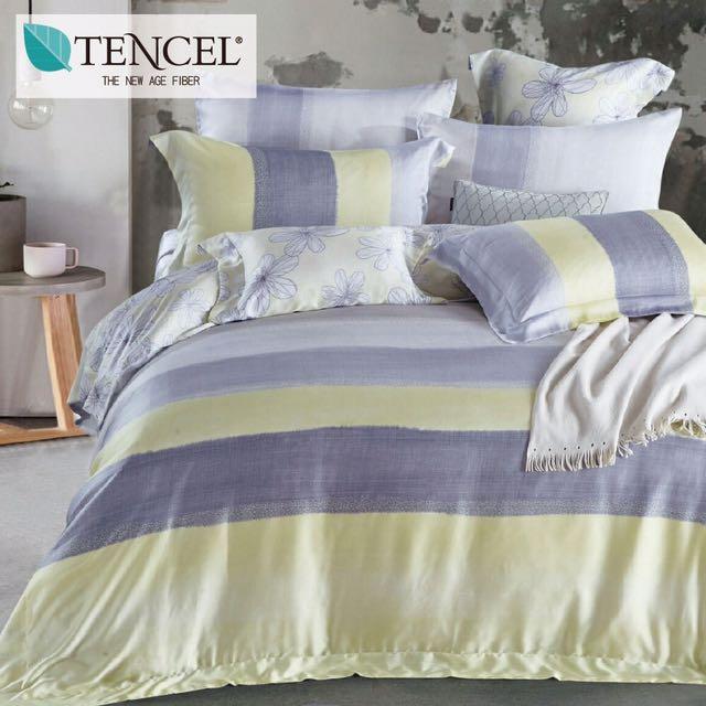 【樂】100%天絲TENCEL 雙人/雙人加大/特大 40支天絲 四件式鋪棉兩用被套床包組&鋪棉兩用被套床罩組(花吉)