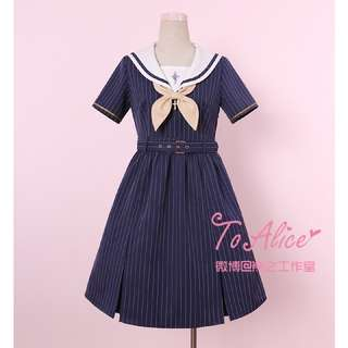 "🚚  Preppy Cute Lolita Sailor Uniform Dress Marine Blue Cross Embroidery Cute Bow Ribbon Accessory M-L Size - From Harajuku Fashion Brand ""To Alice"""