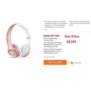 Beats Solo2 Wireless On-Ear Headphone - Rose gold