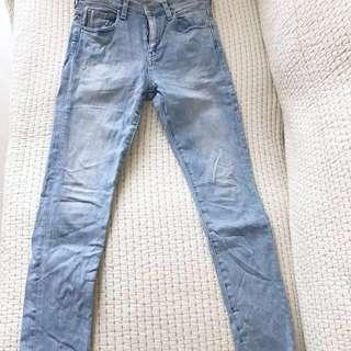 LI HUA淺藍顏色超美彈性細腿牛仔褲Madison de reefur