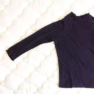 Frill Neck Mock Neck Ribbed Top