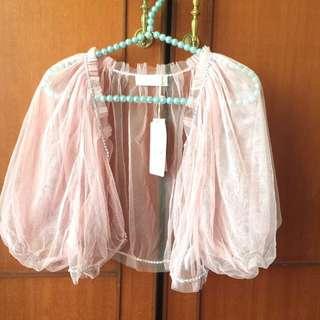 百貨專櫃NR 粉色透紗蓬蓬袖小外套/罩衫/浪漫公主風格~喜宴 婚禮 音樂會
