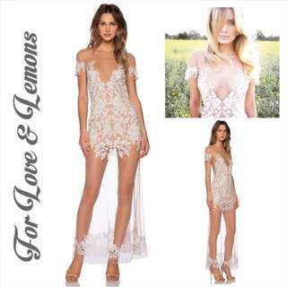 NEW For Love & Lemons Luau Maxi Gown / White & Nude / Small