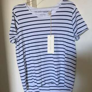 Silent Theory Limited Edition Tee Navy/White stripes, size 10