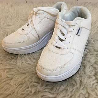Thick platform white sneakers
