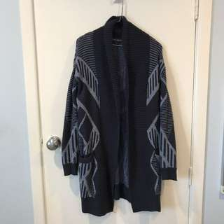 Navy Geometric Knit Cardigan