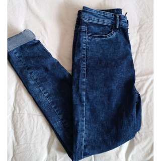 Dark blue acid wash jeans