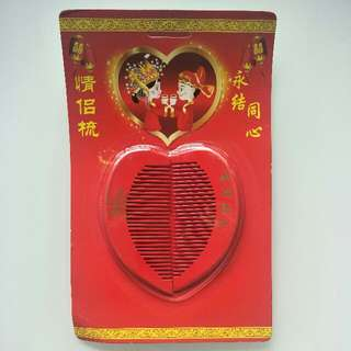 Wedding Engagement Heart Shape Red Comb