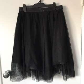 ZARA Black Mesh Layer Skirt