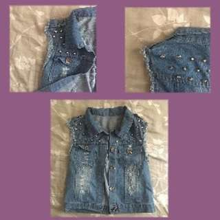 Denim Vest Studded