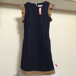 出售「全新」韓系連身背心藍棕色洋裝👗(100ml 粉) NTD.700/元(不含運費/北市面交)