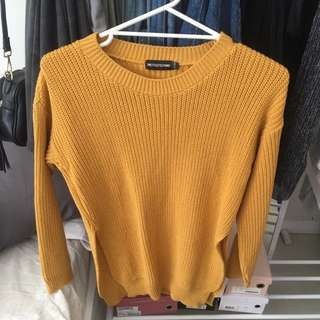 Mustard Split Knitted Sweater