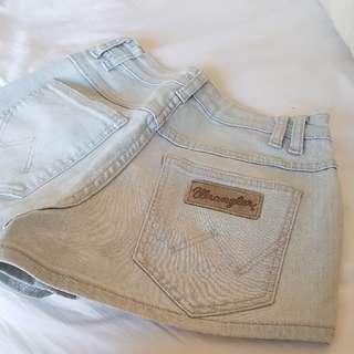 Wrangler Hi Cheeky Blue Denim Shorts Size 6