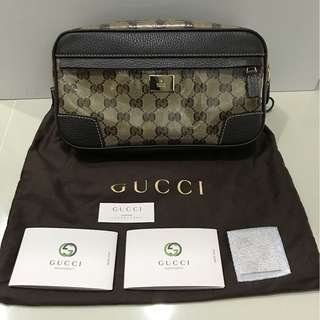 [Authentic] Gucci 336672 Crystal Canvas Fanny Pack Belt Pocket Brown Messenger Bag