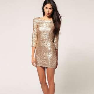 Gold Sequin Mini Dress BNWT Sz S