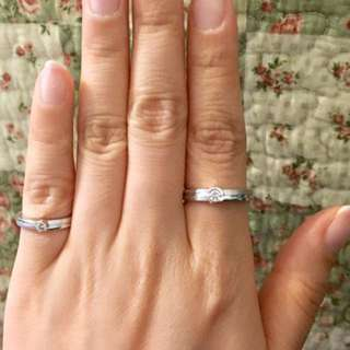 謝瑞麟 18K 750 白金 鑽石 對戒 戒指 介子 結婚 情侶 couple rings