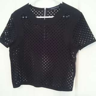 BNWOT French Connection Mesh Crop Top Size 6
