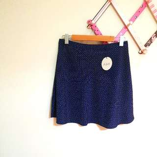 Atmos & Here Navy Skater Skirt