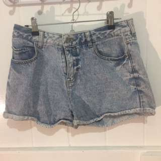 Faded denim shorts