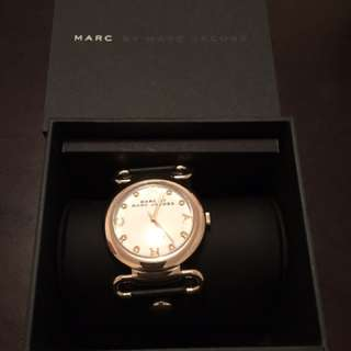 Marc by Marc Jacobs Molly gold tone and black leather watch