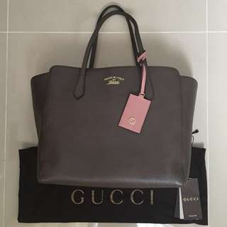 REDUCED - Gucci Swing in Taupe and Pink (Medium)