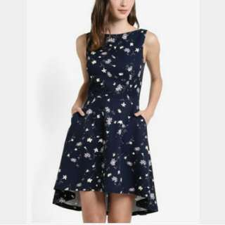 New With Tag Zalora Navy Blue Floral Collection Dipped Hem Dress