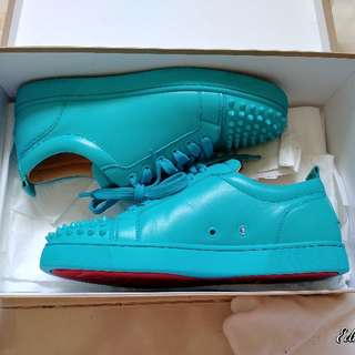 Christian Louboutin Pacific Blue Sold-out Calf Leather Low top Sneakers Size 42 US 9 UK 8 For Clearance Sale