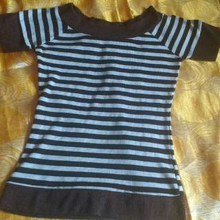 Stripe Blouse, Can be worn off-shoulder