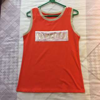 sleeveless orange naughty shirt