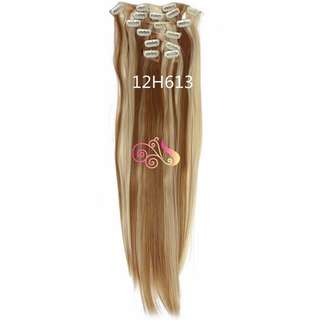 7pc Set Hair Extensions Brown with Blonde mix highlights