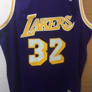 Magic Johnson lakers 復古作客紫色球衣 XL