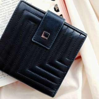 (sale)Belly高級小羊皮壓釦 vintage 皮夾 短夾 黑色 古董
