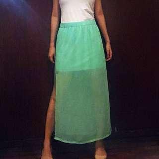 Mint Green Slit skirt