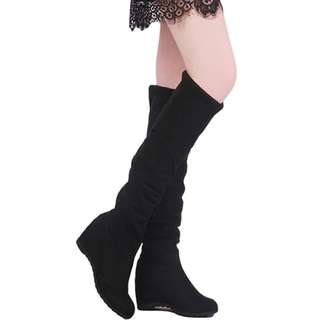 Knee-high Boots Round Toe Shoes Black