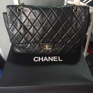 Channel quilted bag leather