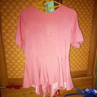 Peplum Pink Top Size M-L Kecil